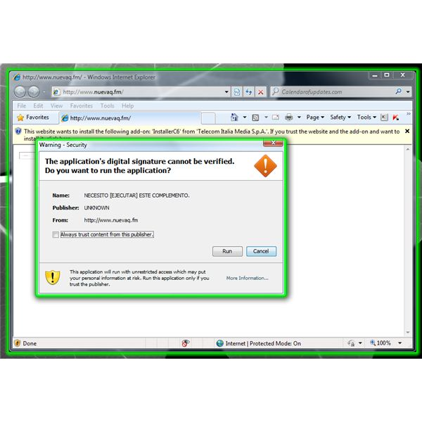 Malicious Add-on for IE