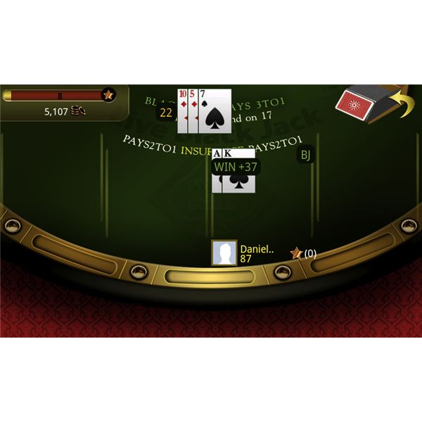 Live Blackjack 21 In Game Screen