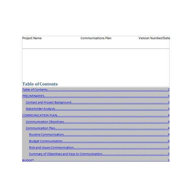 screenshot of communication plan template