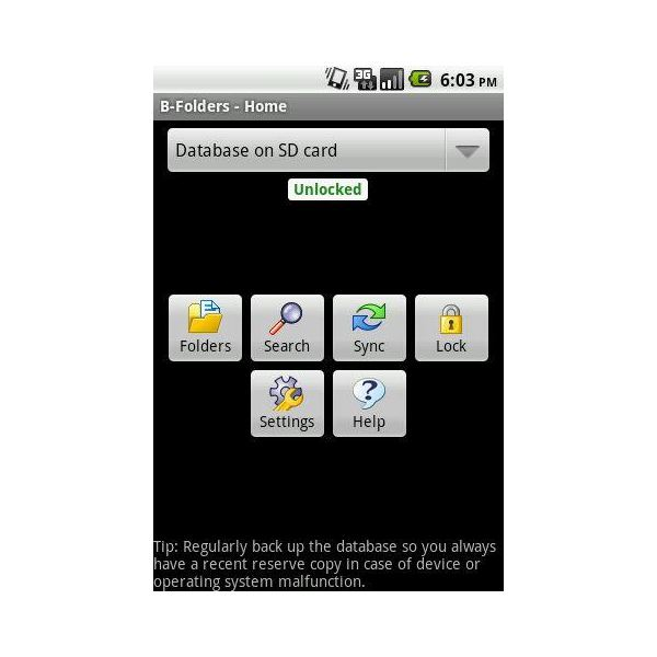 B-Folders Sync and Secure Android Personal Organizer App