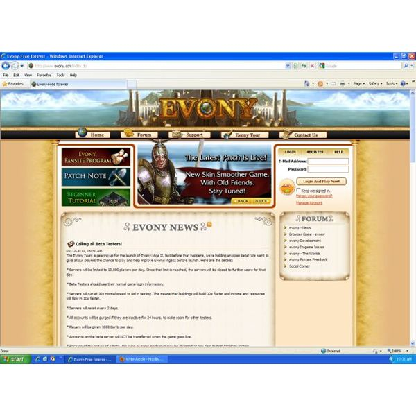 Evony Main Screen