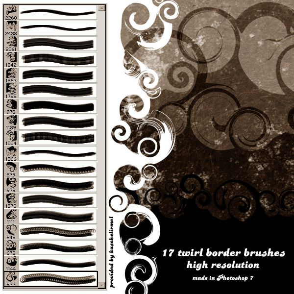 Twirl Border Brushes by kuschelirmel-stock