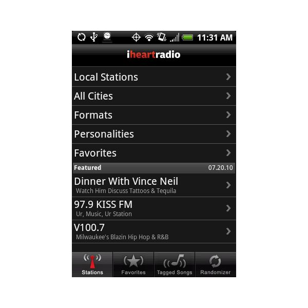 iheartradio on an HTC Hero with Android
