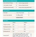 screenshot moderate usage printer costs calculator consumer.org.nz Canon Pixma iP4600 vs HP Officejet 8500