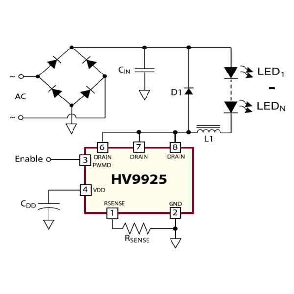 Typical Application Circuit of PWM Controlled Dimmable LED Driver Circuit, Image