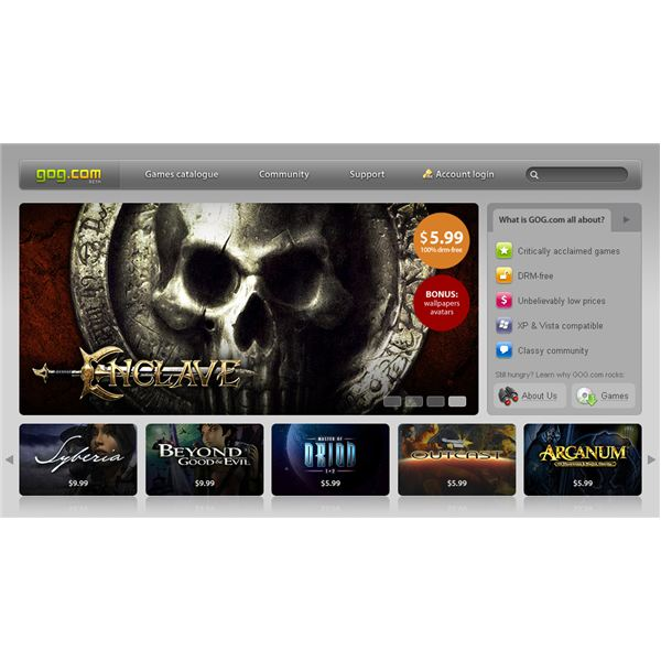 Screenshot of GoG.com - Offering the best buy PC games at low prices