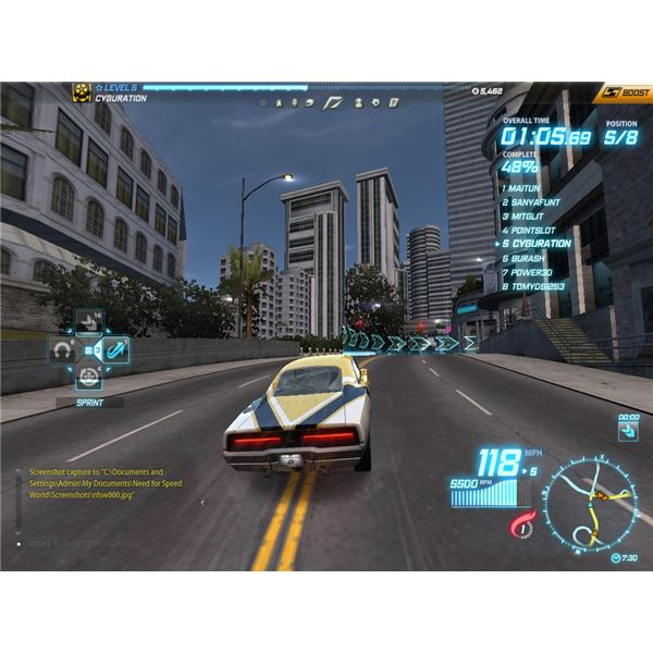 Racing on the streets against other players