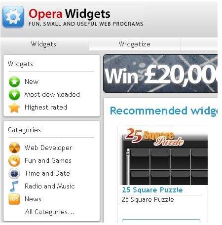 Opera Web Browser Review - widgets