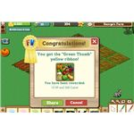 As well as going up to level 6, your harvest won you the Green Thumb yellow ribbon