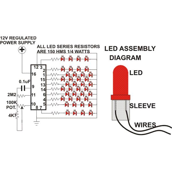 how to build a simple circuit for led christmas tree decoration do rh brighthubengineering com led display pin diagram seven segment led pin diagram
