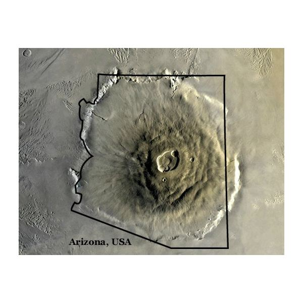 Size Comparison of the Olympus Mons and the State of Arizona