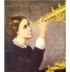 Maria gazing through her telescope.