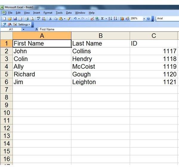 Excel import format