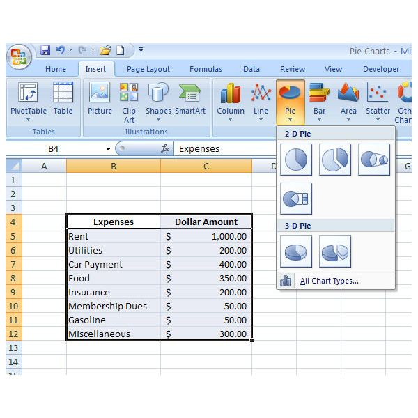 How to create a basic pie chart in microsoft excel 2007 for Table design ribbon in excel