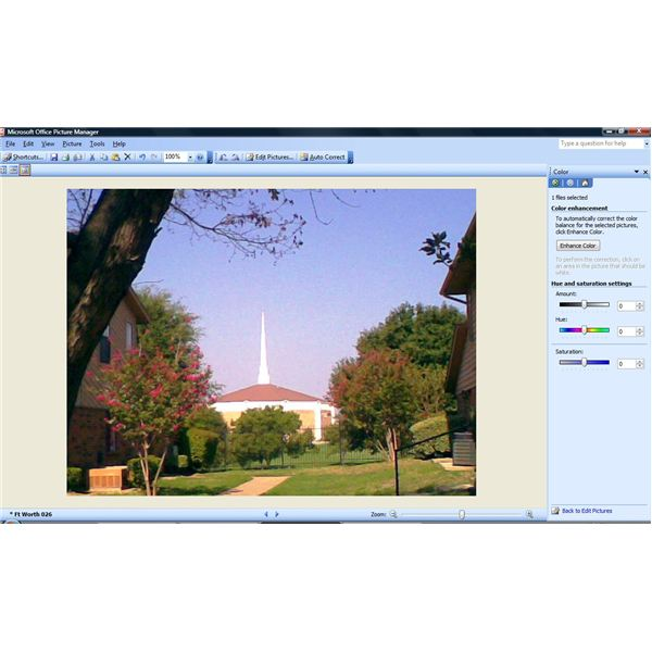 Microsoft Picture Manager - Color Pane
