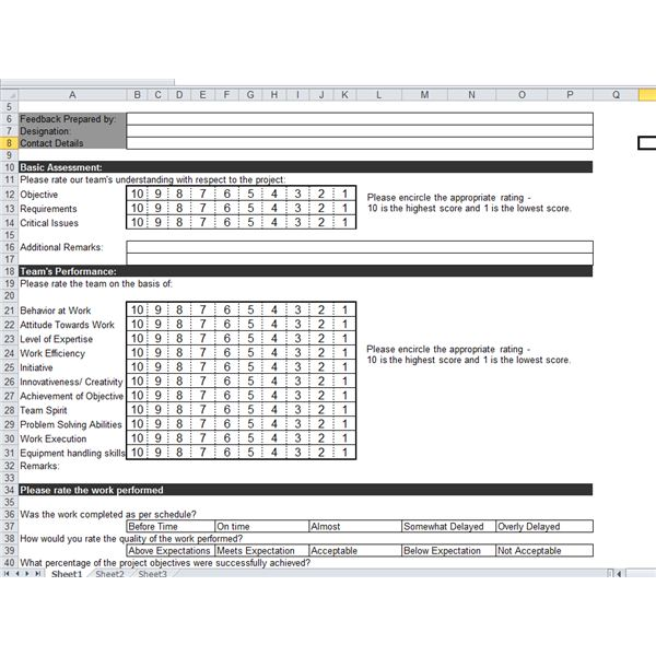 Excel Project Feedback Form by Sidharth Thakur