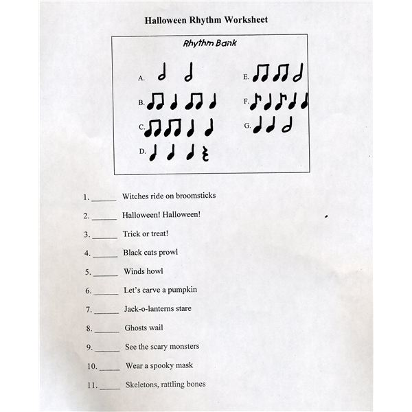 Rhythm WOrksheet for Halloween