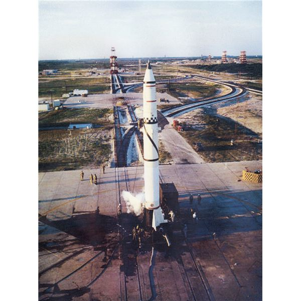 A Redstone on the pad at Cape Canaveral