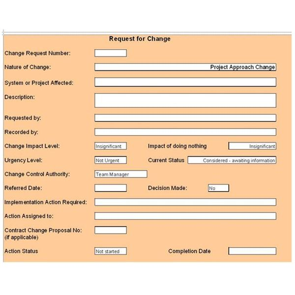 Free change control template download customize for for Change management process document template