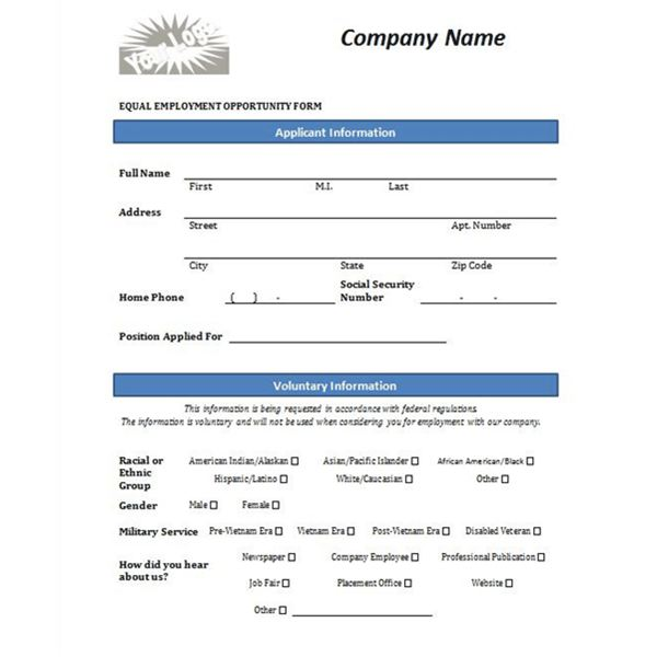 Equal Opportunity Form The Final Template Is Actually A Job Application