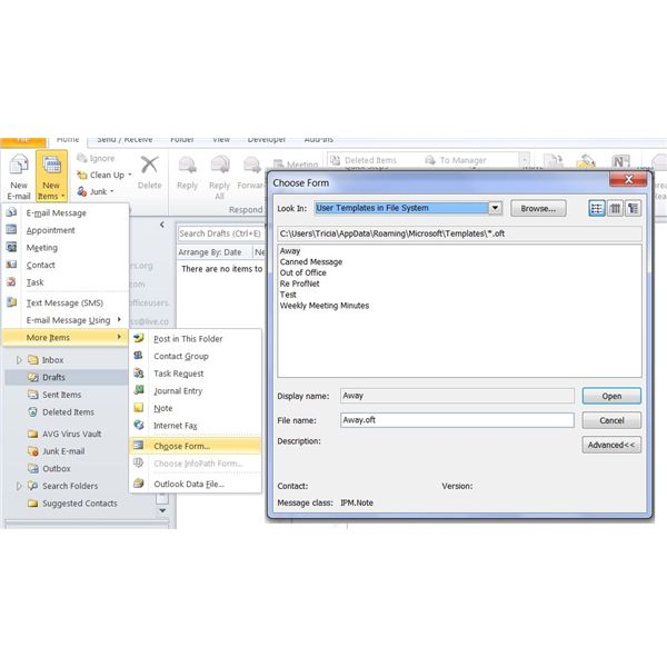 Creating saving and using microsoft office 2010 outlook templates open a template in outlook maxwellsz
