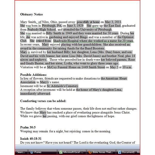 Obituary Template For Word Free Download