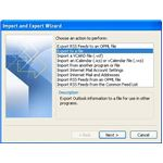 Importing address book from Outlook 2007: Export