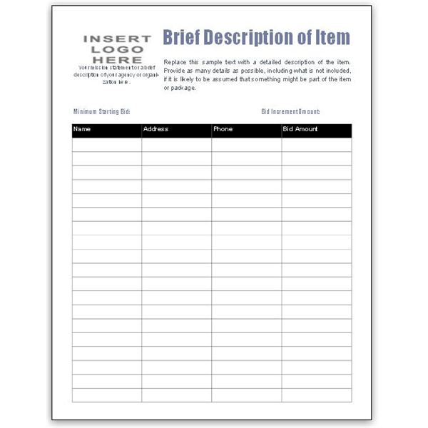 Free bid sheet template collection downloads for ms publisher for Auction spreadsheet template