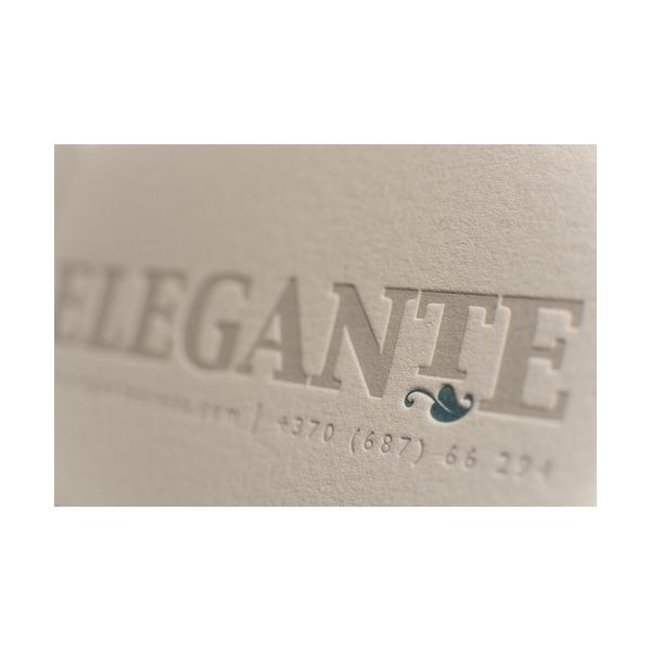 A pressed style business card.