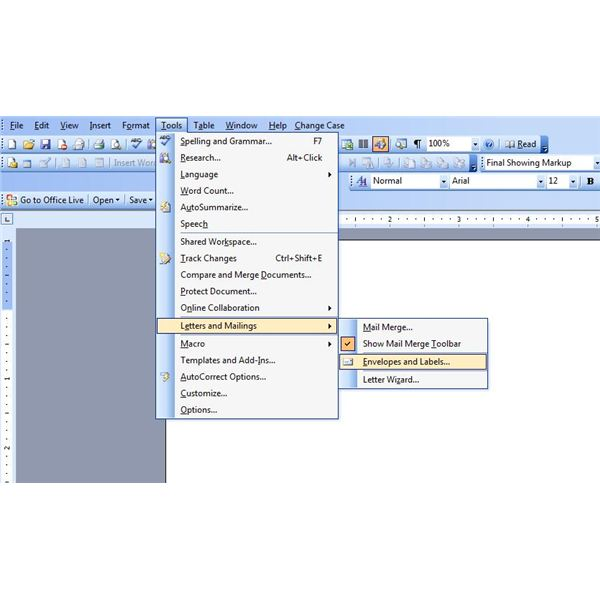 If You Are Using Word 2003 Or Earlier Point To Letters And Mailings On The Tools Menu Click Envelopes Labels Tab