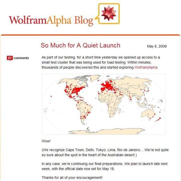 Wolphram Alpha Blog live test world picture