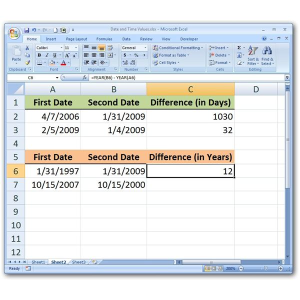 Basic Example of Calculating Difference in Years