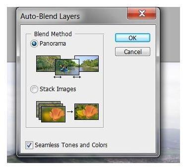 Select Auto Blend - Panorama