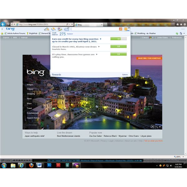 Reward points are based on the use of the Bing search engine.