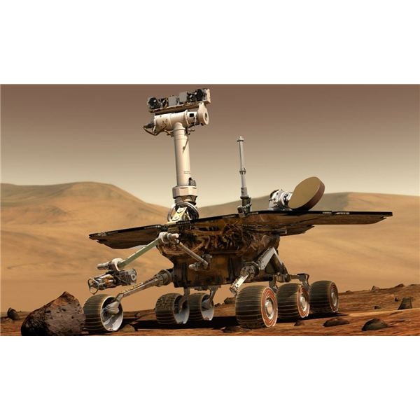 Artists Rendition of a Space Rover at Work on Mars