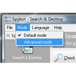 Switch to Advanced Mode in Spybot Search and Destroy to Use Exclusion Rules