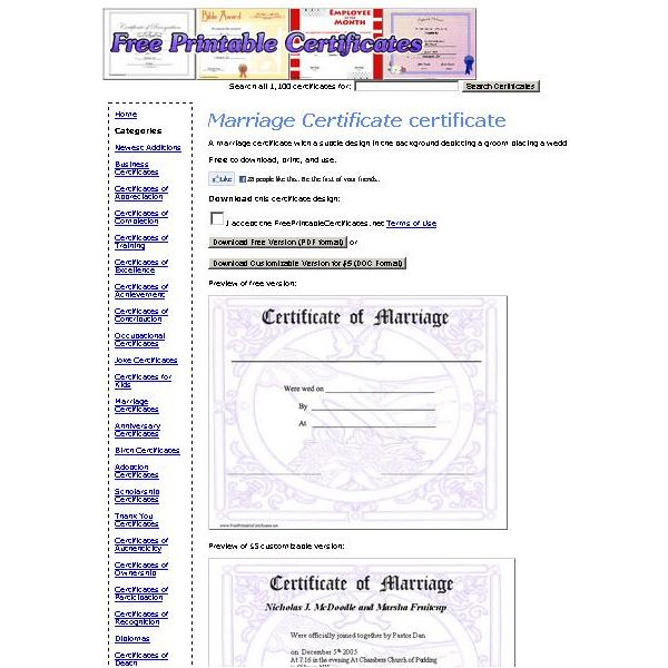 commemorative certificate template - top sources for printable blank marriage certificates
