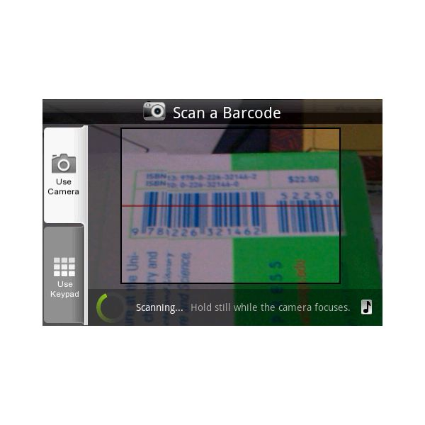 Shop Savvy scanning a barcode on an HTC Hero