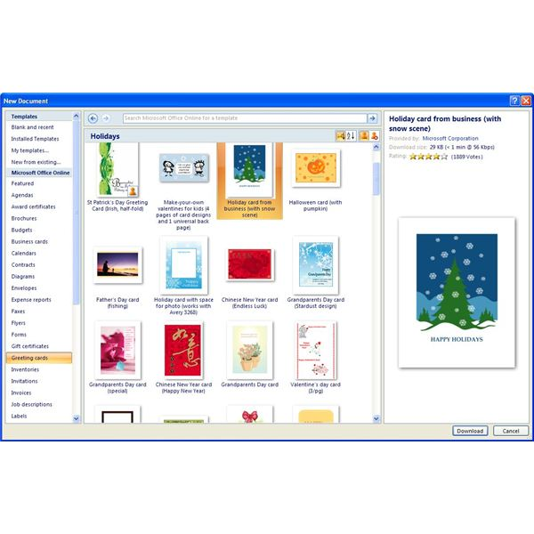 Free Microsoft Office Greeting Card Templates Come Via Office Online  Online Greeting Card Template