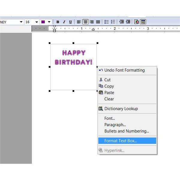 Greeting Cards in Microsoft Works: Format Text Box