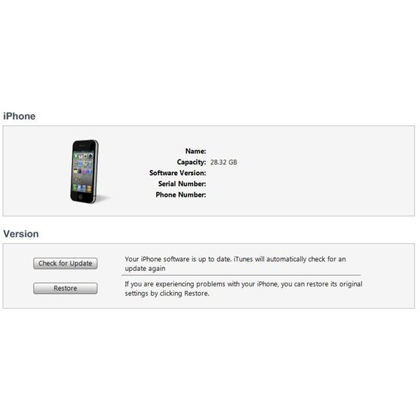 restore iPhone with iTunes