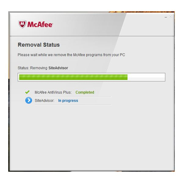 Removal Process of McAfee AV and SiteAdvisor