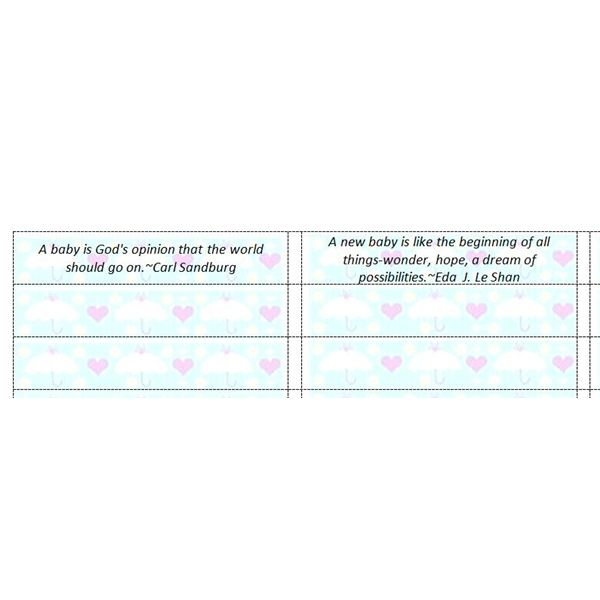 Baby Shower Favor Fortune Templates