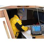 A sailor prepares for his next seafaring adventure using his marine GPS device.
