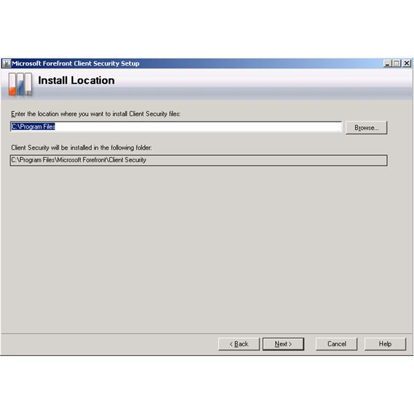 Forefront Client Security Installation Wizard - Install Location