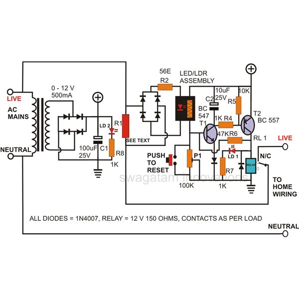 how to build a simple circuit breaker unit?electronic circuit breaker, circuit diagram,