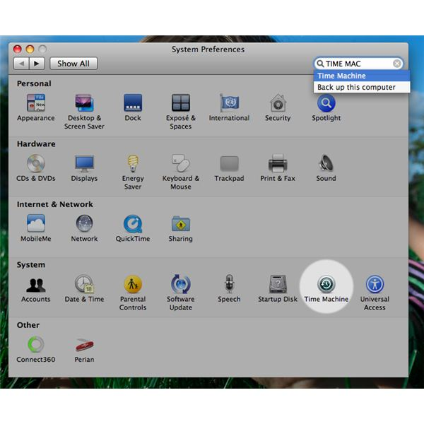 Time Machine icon in the System Preferences pane