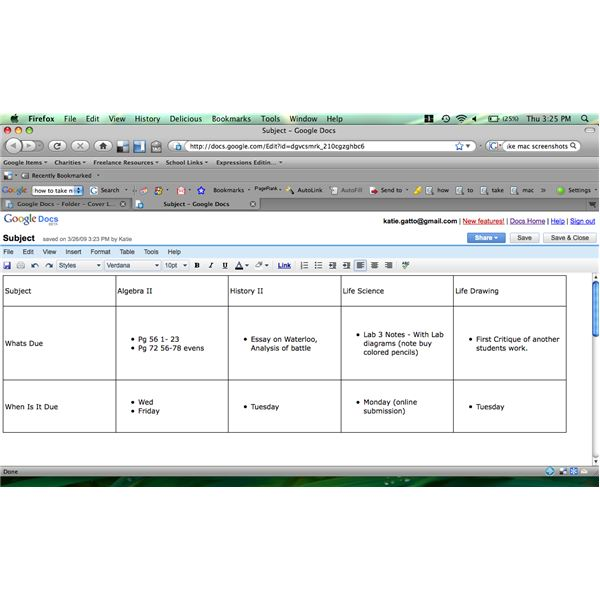 how to make a basic homework planner with google docs