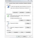 Adjusting Internet Explorer Browser Settings: General Tab