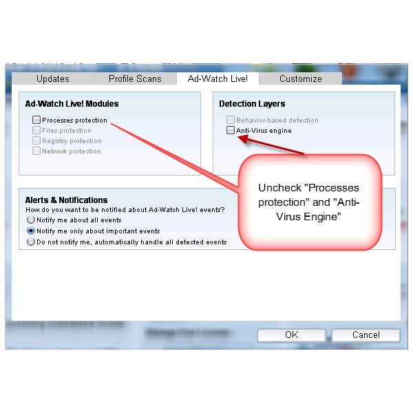 Disabling Ad-Watch Live and Virus Engine in Ad-Aware Free